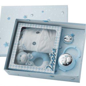 Pack Infantil de portachupetes, chupetero, sonajero y babero azul
