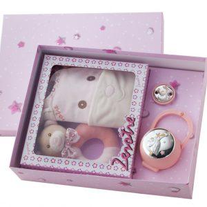 Pack Infantil de portachupetes, chupetero, sonajero y babero rosa