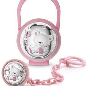 Portachupete y chupetero rosa con osito luna y estrella