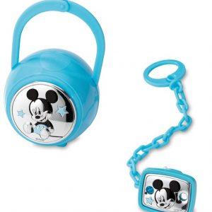 Portachupetes y chupetero Disney Azul Mickey