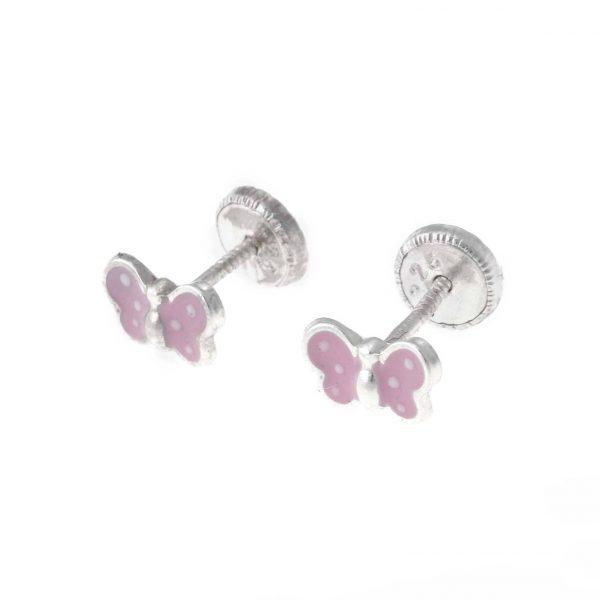 Pendientes rosas mariposas de plata