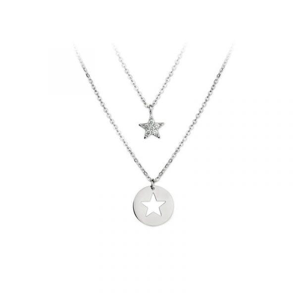Collar estrella doble circonitas