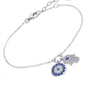 Pulsera mano de Fatima azul Lotus