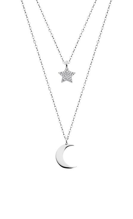 Gargantilla doble Luna y estrella Lotus
