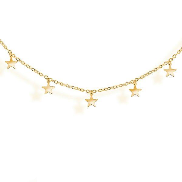 Collar de estrellas en plata chapada